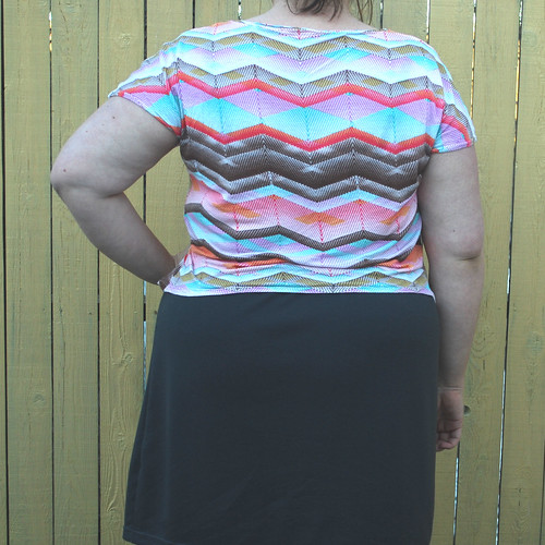 Chevron shirt gray skirt back