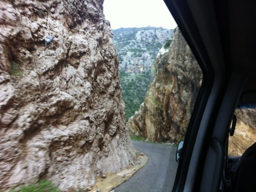 Narrow mountain highway in northern Lebanon (February 2013)