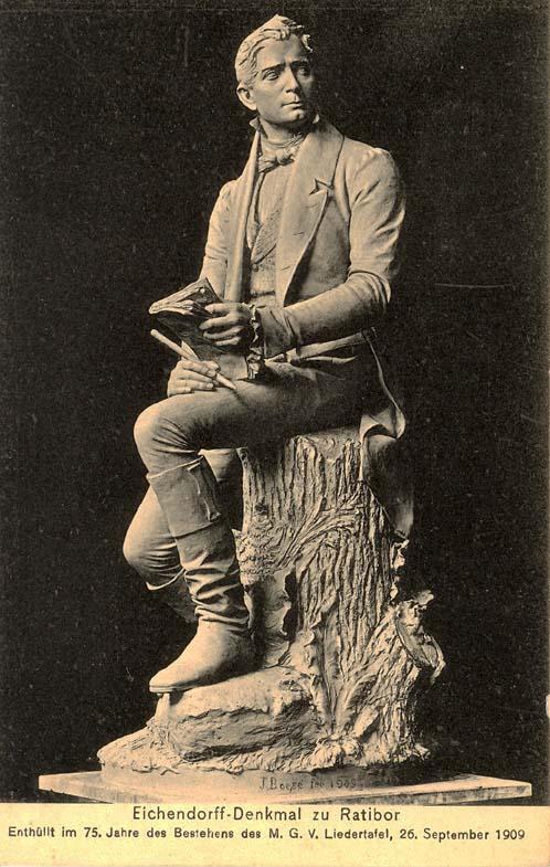 Postkarte Eichendorff-Denkmal zu Ratibor, 1909