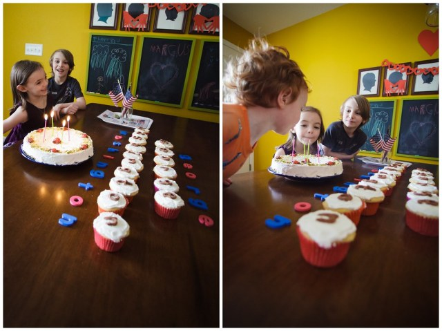 Singing Happy Birthday and blowing out the candles.