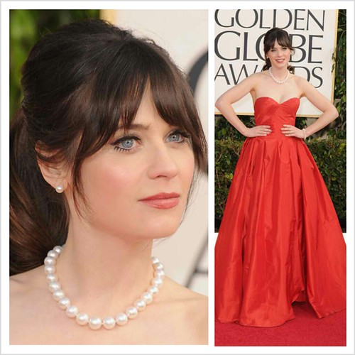 Zoey Deschanel in Oscar dela Renta