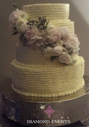 3 Tier Round Wedding Cake with Whipped icing