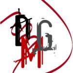 Logo de la empresa Damarage Photo&Multimedia en el que se ven una D, una M y una G con un trazado vectorial de fondo en forma de cinta roja