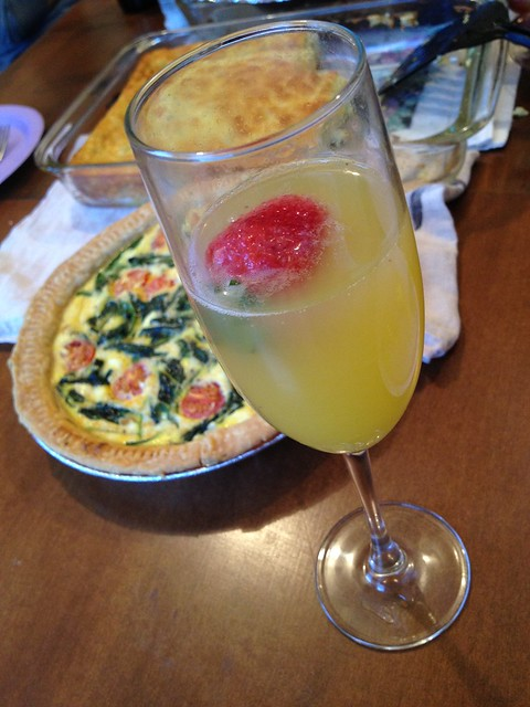 Mimosa with raspberry