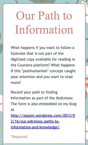 Our #EdcMooc Path to Information