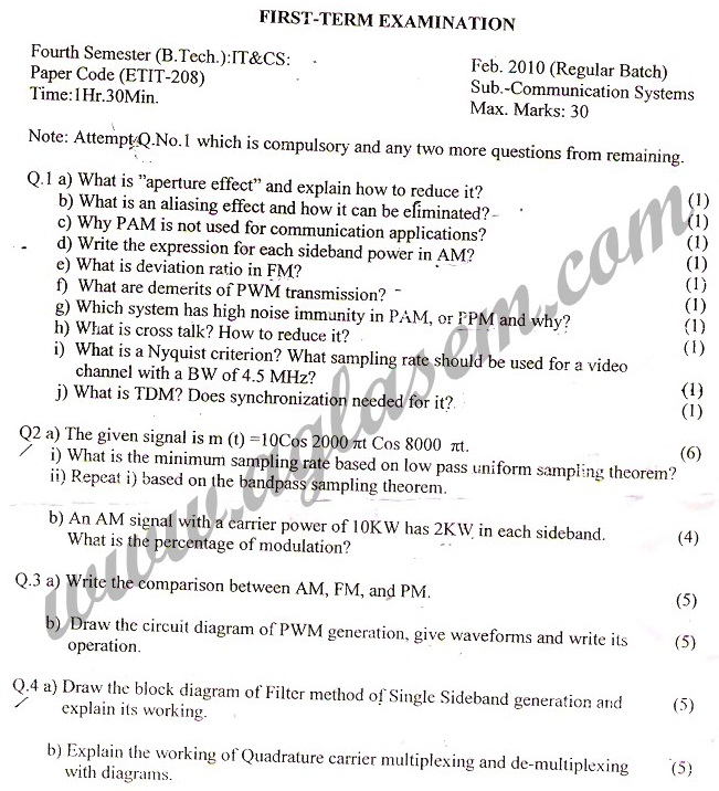 GGSIPU Question Papers Fourth Semester – First Term 2010 – ETIT-208