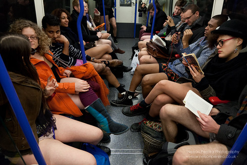 London, UK. 13th January 2013 No trousers day on the tube London