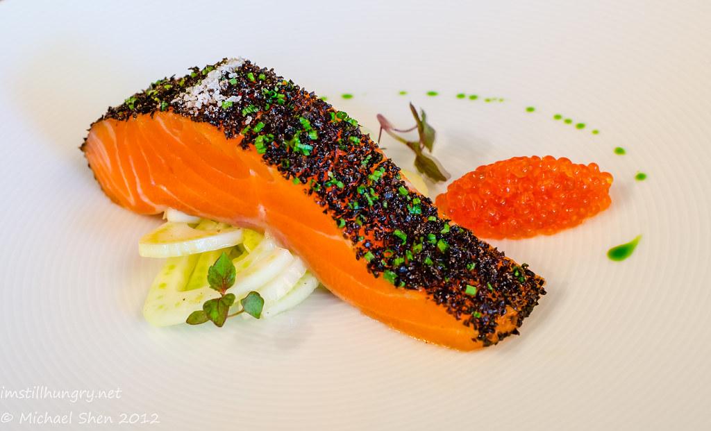 Tetsuya's - signature dish - confit of petuna ocean trout w/fennel & unpasteurised ocean trout caviar