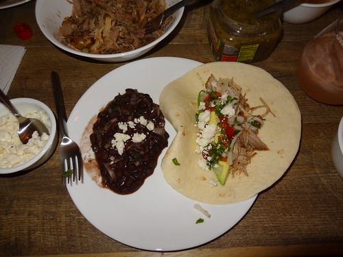 Pork Carnitas taco and black beans
