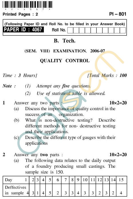 UPTU B.Tech Question Papers - PI-801 - Quality Control