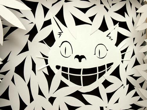 Paper cut work: Cheshire Cat - detail