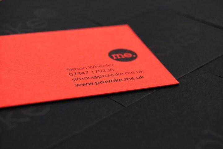 Letterpress business cards for Provoke on 700gsm Colorplan duplex card stock
