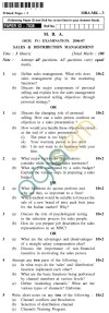 UPTU  MBA Question Papers - MBA-MK-3-Sales & Distribution Management