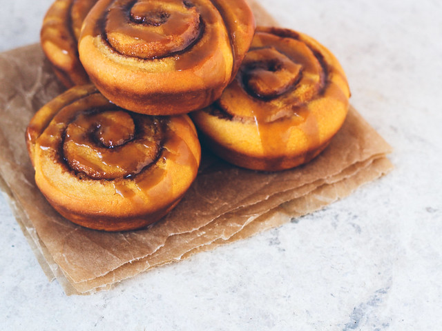 Sweet potato cinnamon rolls with boozy caramel glaze