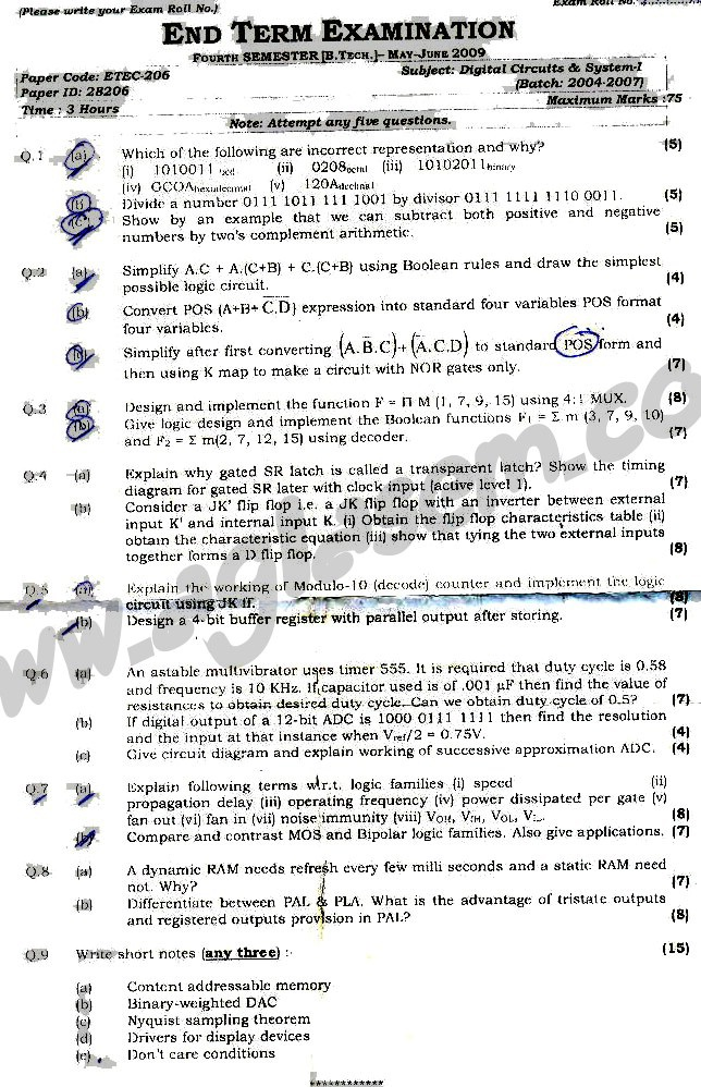 GGSIPU Question Papers Fourth Semester – end Term 2009 – ETEC_206