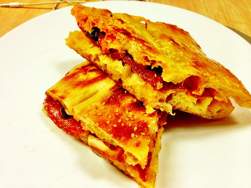salami, tomato and olives toastie