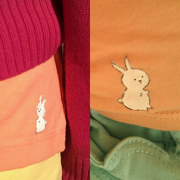 Lil bunbuns on orange shirts for lil girls #Easter