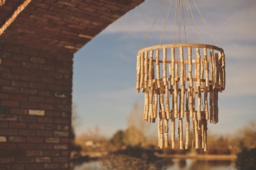 Cole + Kim Wedding DIY wine-cork chandelier