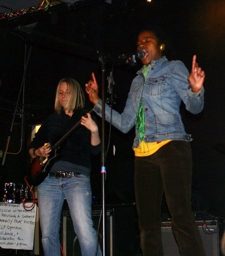 Phoebe on vocals, Tonya on guitar