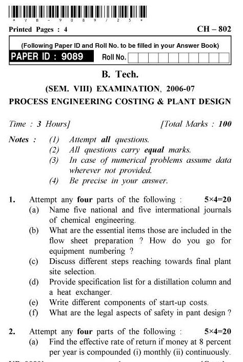 UPTU B.Tech Question Papers -CH-802 - Process Engineering Costing & Plant Design