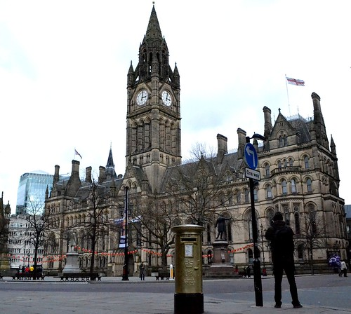 Gold Post Box, Manchester by Angela Seager