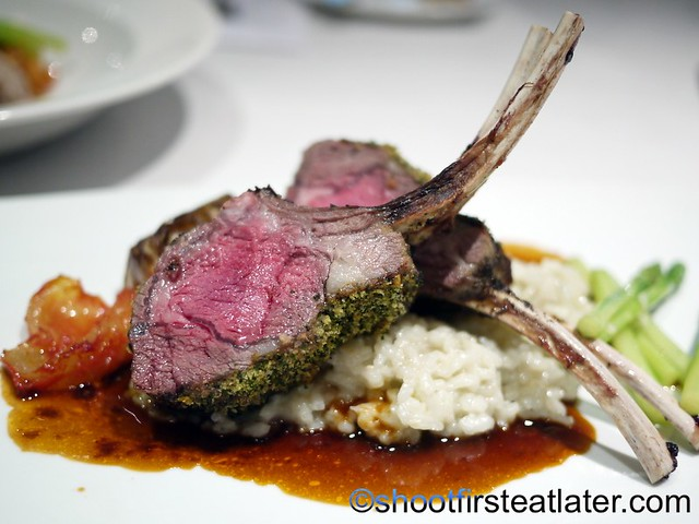 Herb De Provence Crusted Rack of Lamb Three Cheese Risotto( Roquefort, Gruyere and Parmesan) Forty Melted Garlic and Tomato Confit P1,525 regular portion