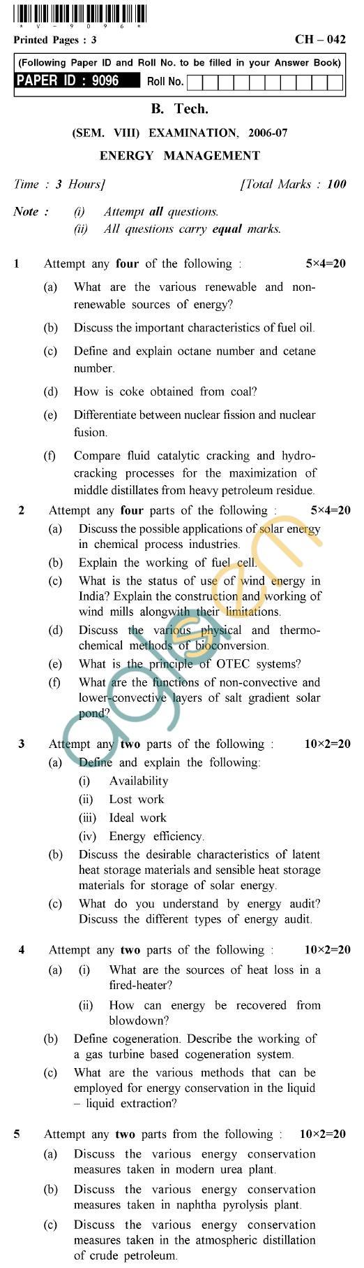 UPTU B.Tech Question Papers -CH-042 - Energy Management