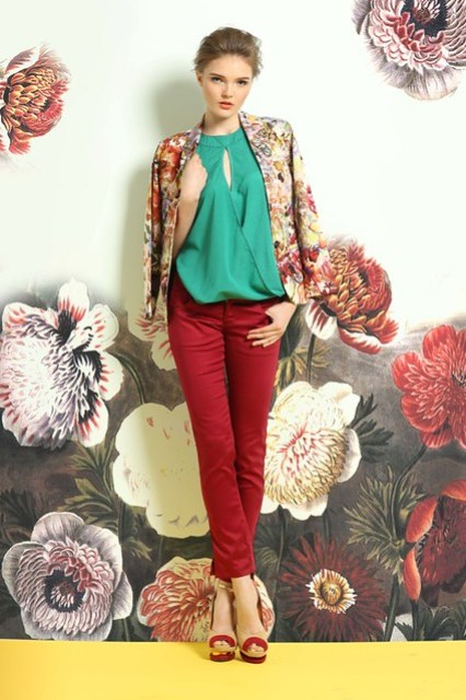 All Over Floral Print Blazer, Crepe de chine overlap halter top, and Maroon Skinny Pants