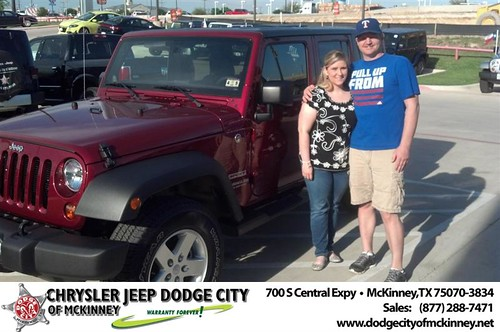 Dodge City of McKinney would like to say Congratulations to Jessica Candy on the 2013 Jeep Wrangler by Dodge City McKinney Texas