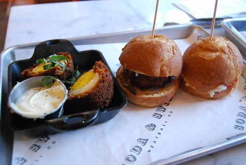 Meatball sliders + Scotch egg