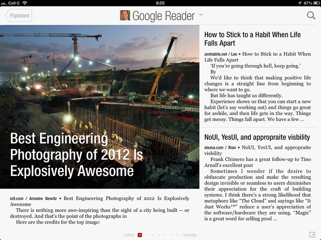 My Google Reader view in Flipboard