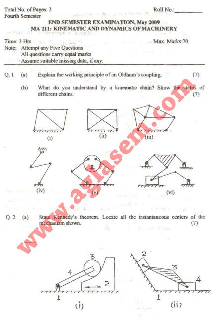 NSIT: Question Papers 2009 – 4 Semester - End Sem - MA-211