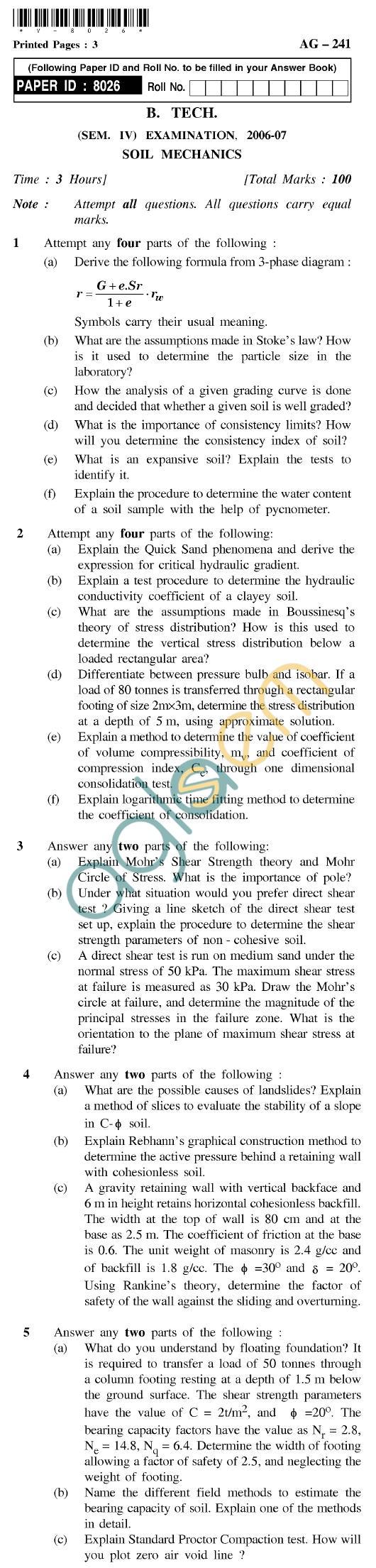 UPTU B.Tech Question Papers - AG-241 - Soil Mechanics