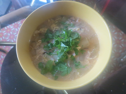 Mo gua and shiitake egg drop soup