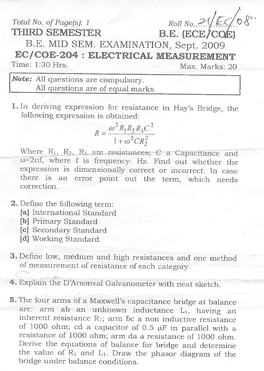 NSIT: Question Papers 2009 – 3 Semester - Mid Sem - EC-COE-204