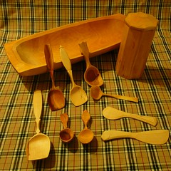 greenwood spoons, bowl and shrink pot
