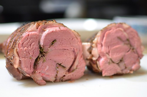 26 hour sous vide leg of lamb stuffed with rosemary, thyme and garlic