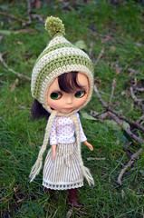 Striped Green and Cream Pixie Hat