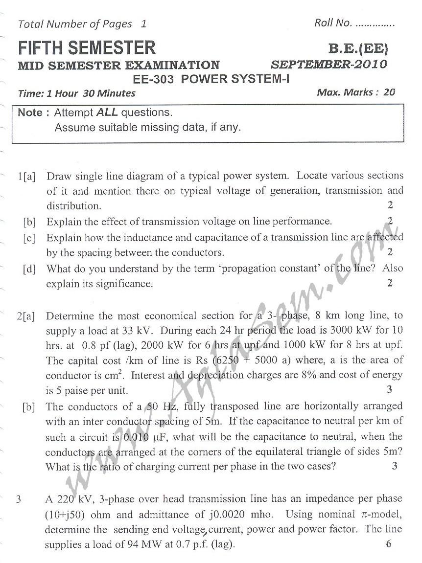DTU Question Papers 2010 – 5 Semester - Mid Sem - EE-303