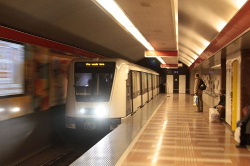 Modern Alstom train arrives on the Budapest Metro