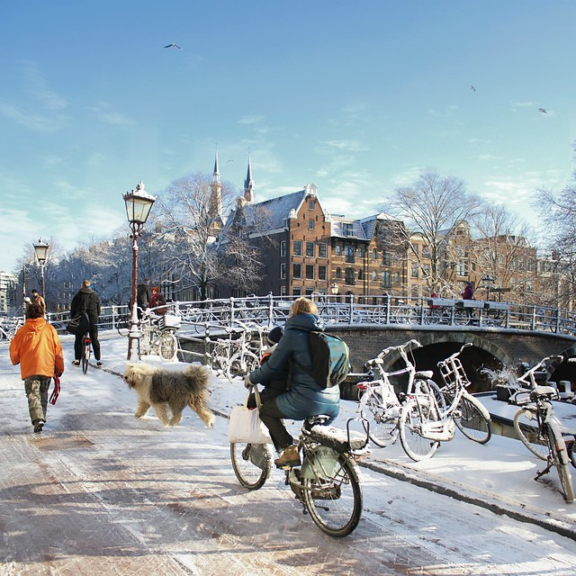 Icy road and bridge in Amsterdam