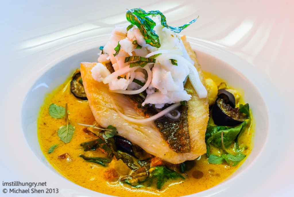 Universal - roasted john dory, spanner crab & mint salsa, palm heart & spiced coconut