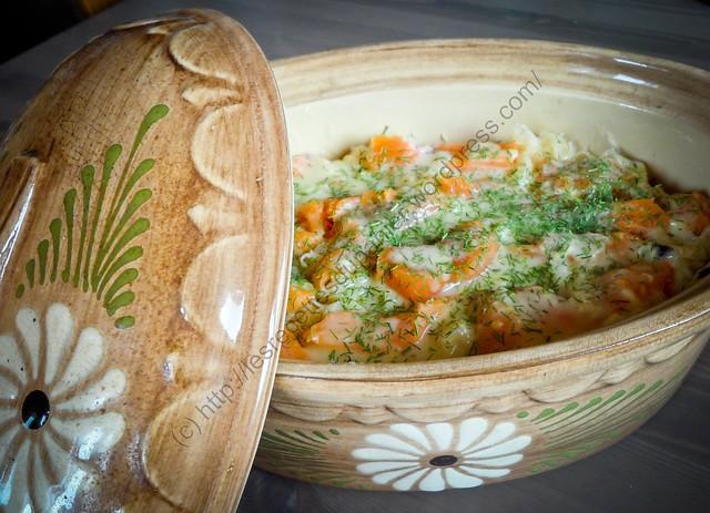 Lasagnes parmentières à la choucroute et à la truite saumonée / Potato Lasagna with Sauerkraut and Trout