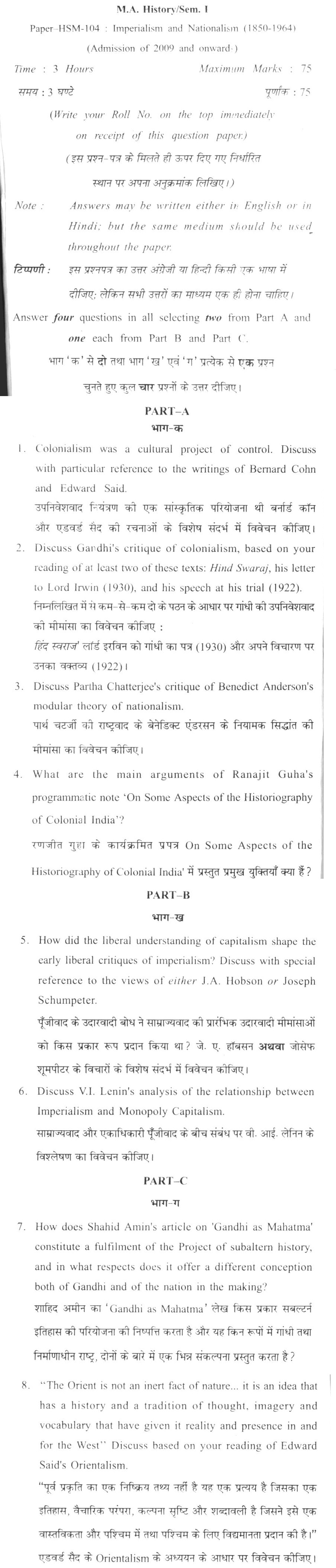 DU SOL M.A. History Question Paper - ISemesterHSM Imperialism And Nationalism(1850-1964) - Paper 104