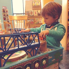 Barnes & noble on this cold morning.  Books, coffee and trains- we're both happy.
