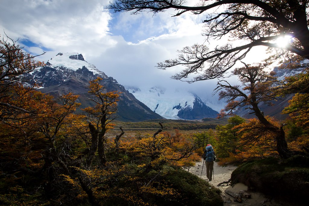 Towards the base of Cerro Torre. But it's all hide-and-seek. Los Glaciares. Patagonia. Argentina.