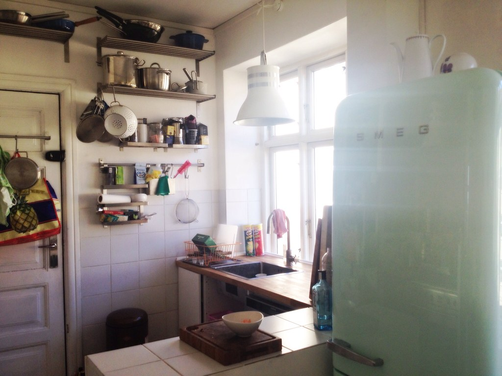 Scandinavian boho kitchen and mint smeg fridge