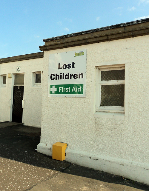 Lost children first aid in Ayr, Scotland.