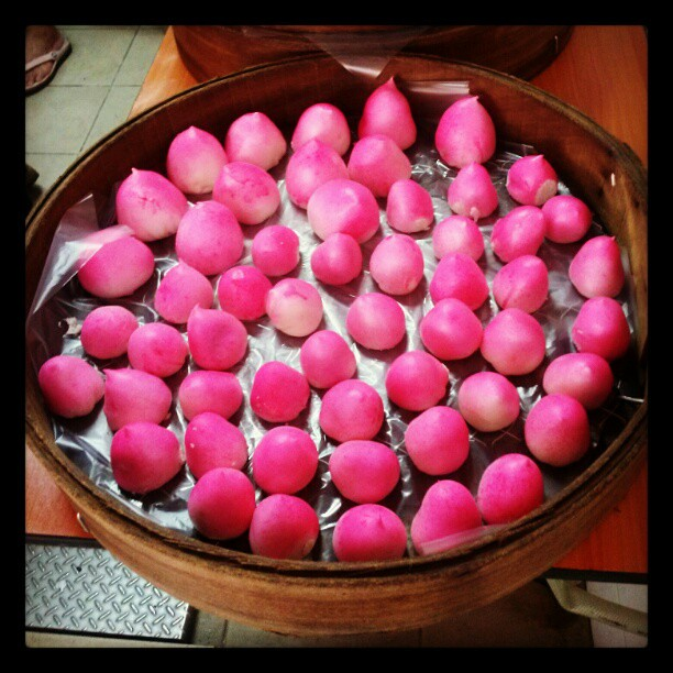 Freshly steamed, hand-made lotus paste buns