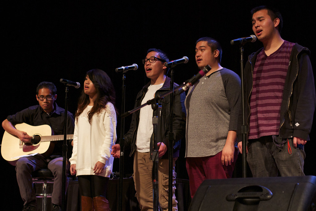Members of PACE's choir group, Pil-Harmonix, perform a song at the Filipino Community Mural 10th anniversary celebration on Tuesday, April 2, 2013 at SF State's Jack Adams Hall. Photo by Jamie Balaoro / Special to Xpress